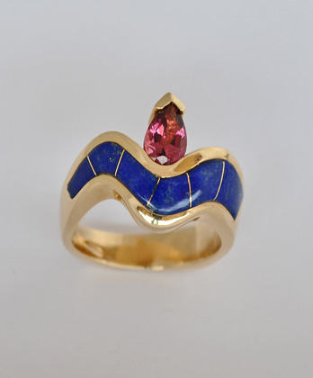 Gold and Pink Tourmaline Ring with Lapis Inlay