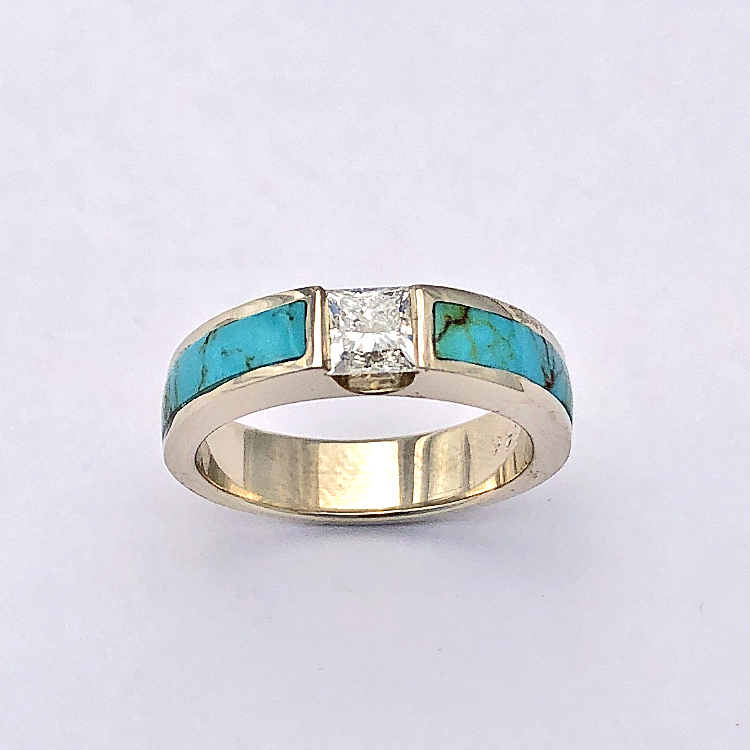 Gold and Turquoise Engagement Ring with Channel Set Diamond