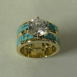Gold-and-Turquoise-Engagement-and-Wedding-Set-by-Southwest-Originals-505-363-7150