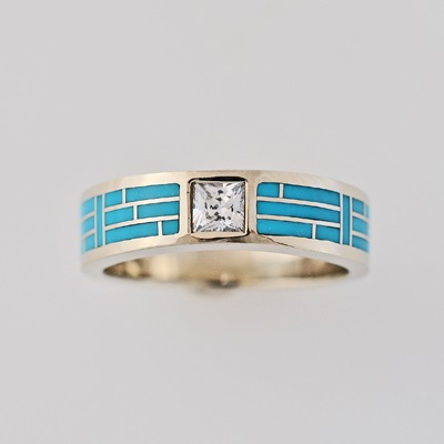 Gold and Turquoise Wedding Band 01 by Southwest Originals 505-363-7150