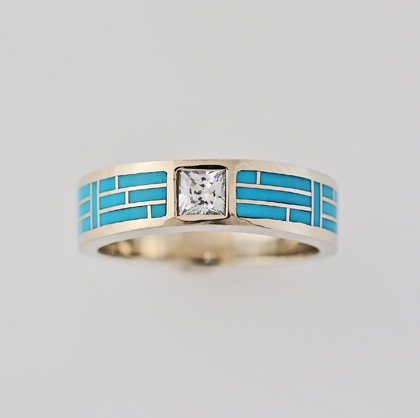 Gold and Turquoise Wedding Band 2