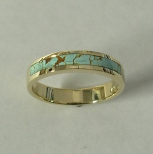 Gold and Turquoise Wedding Band by Southwest Originals 505-363-7150