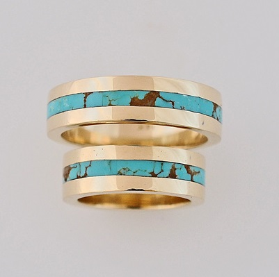Gold-and-Turquoise-Wedding-Ring-Set-by-Southwest-Originals-505-363-7150