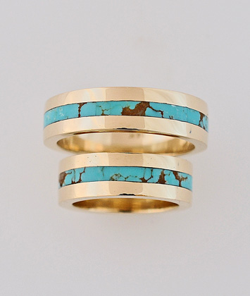 Gold and Turquoise Wedding Ring Set