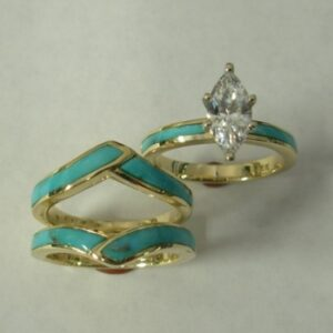 Gold-wedding-Set-with-Turquoise-and-Diamond-CZ-by-Southwest-Originals-505-363-7150