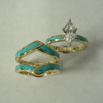 Gold wedding Set with Turquoise and Diamond : CZ