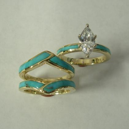 Gold wedding Set with Turquoise and Diamond : CZ