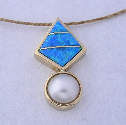 Golden Pendant with Mabe Pearl and Lab Blue Opal Inlay by Southwest Originals 505-363-7150