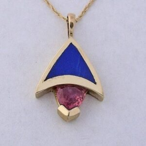 Golden Pendant with Pink Tourmaline and Lapiz Inlay by Southwest Originals 505-363-7150