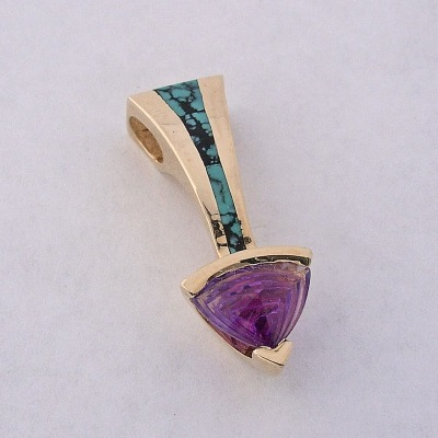 Golden Pendant with Turquoise and Amethyst by Southwest Originals 505-363-7150