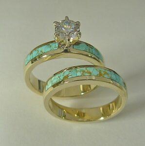 Ladies-14-karat-yellow-gold-wedding-set-with-natural-Turquoise-inlay-.5-carat-round-diamond-by-Southwest-Originals-505-363-7150