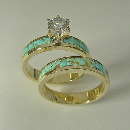 Ladies 14 karat yellow gold wedding set with natural Turquoise inlay & 1:2 carat round diamond