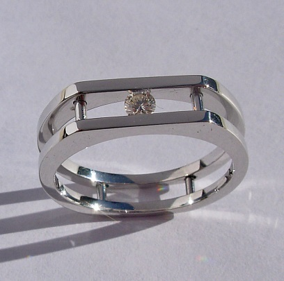 Mens-Ladies 14 Karat White Gold Ring with Round Channel Set Diamond.Southwest Originals 505-363-7150