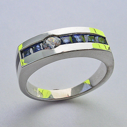 Men's White Gold Ring with Sapphire and Sugalite Inlay