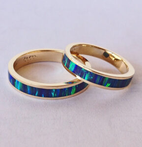 Mens-and-Ladies-14-Karat-Gold-Opal-Wedding-Bands