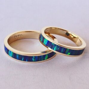 Mens-and-Ladies-14-Karat-Gold-Opal-Wedding-Bands-by-Southwest-Originals-505-363-7150