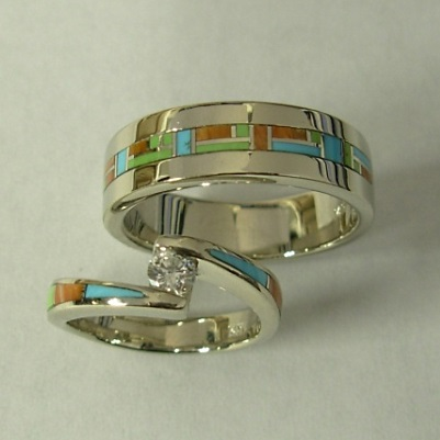 Mens and Ladies 14 Karat White Gold Wedding Set with Multi Color Inlay and Diamond by Southwest Originals 505-363-7150