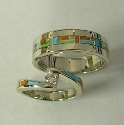 Mens and Ladies 14 Karat White Gold Wedding Set with Multi Color Inlay and Diamond