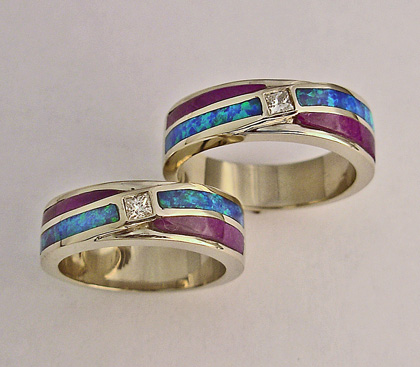 Mens and Ladies Wedding Bands with Diamond, Lab Opal, and Sugalite Inlay