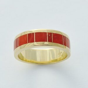 Mens or Ladies 18 Karat Gold and Coral Inlay Band by Southwest Originals 505-363-7150