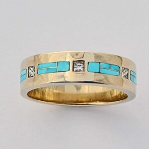 Mens or Ladies Gold Diamond and Turquoise Wedding Band by Southwest Originals 505-363-7150