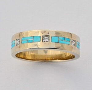Mens-or-Ladies-Gold-Diamond-and-Turquoise-Wedding-Band-by-Southwest-Originals-505-363-7150