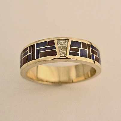 Men's or Ladies Wedding Band With Diamond and Lapis-Sugalite Inlay by Southwest Originals 505-363-7150