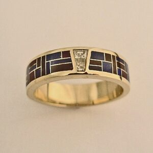 Mens-or-Ladies-Wedding-Band-With-Diamond-and-Lapis-Sugalite-Inlay-by-Southwest-Originals-505-363-7150