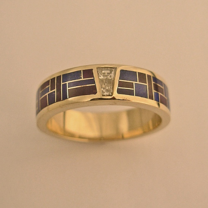 Men's or Ladies Wedding Band With Diamond and Lapis : Sugalite Inlay