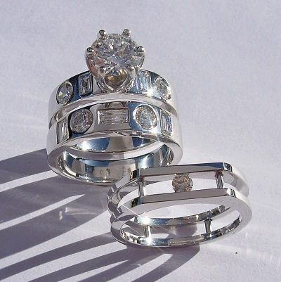 Platinum Engagement and Wedding Ring Set with Ring Guard Southwest Originals 505-363-7150