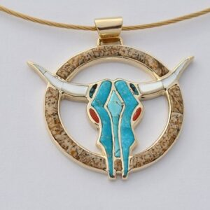 Steer Skull Pendant with Turquoise Inlay by Southwest Originals 505-363-7150