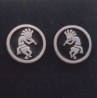 Sterling Silver Kokopelli Earrings by Southwest Originals 505-363-7150