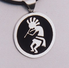 Sterling Silver Kokopelli Pendant 01b by Southwest Originals 505-363-7150