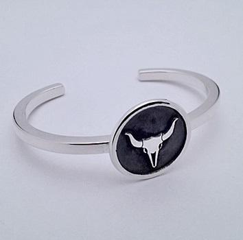 Sterling Silver Steer Skull Bracelet