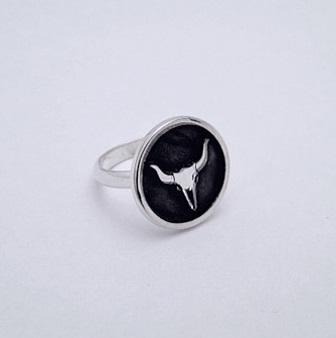 Sterling Silver Steer Skull Ring by Southwest Originals 505-363-7150