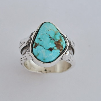 Sterling Silver ring with Nevada Turquoise by Southwest Originals 505-363-7150