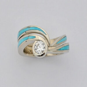 Turquoise Engagement Wedding Set #G0104