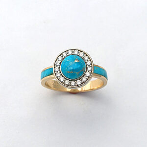 Turquoise-and-Diamond-Halo-Ring Store Gallery #SWE0002