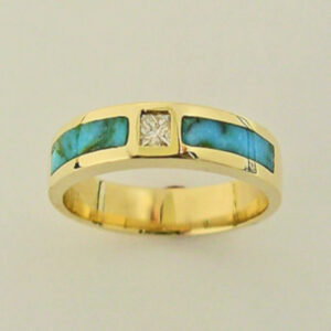 Turquoise and Diamond Ring by Southwest Originals 505-363-7150 AA
