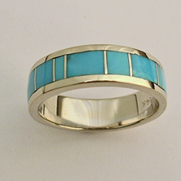 Turquoise wedding band by Southwest Originals 505-363-7150