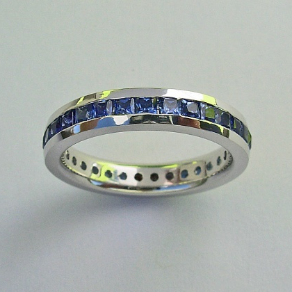 White Gold Eternity Band With Square Sapphires
