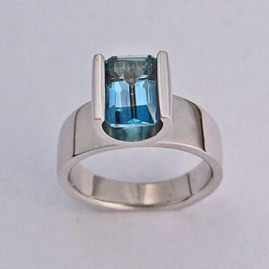 White Gold Ladies Ring With London Blue Topaz