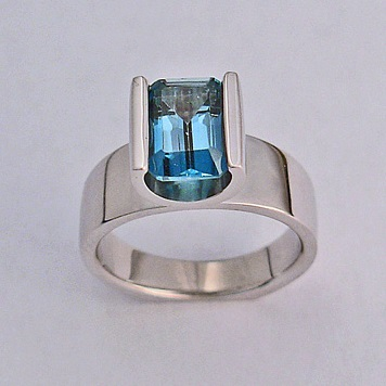 White Gold Ladies Ring With London Blue Topaz by Southwest Originals 505-363-7150