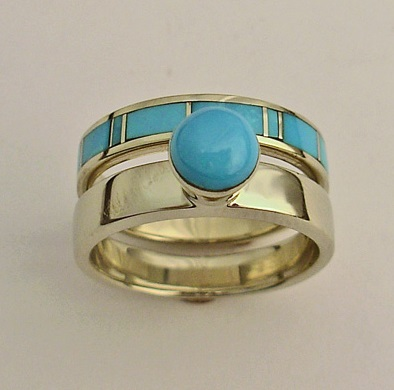 White-Gold-Ladies-Wedding-Set-With-Turquoise-by-Southwest-Originals-505-363-7150