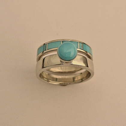 White Gold Ladies Wedding Set With Turquoise