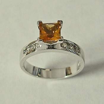 White Gold Ring With Citrine And Diamonds by Southwest Originals 505-363-7150