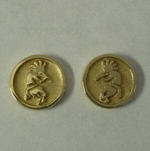 Yellow Gold Kokopelli Earrings by Southwest Originals 505-363-7150