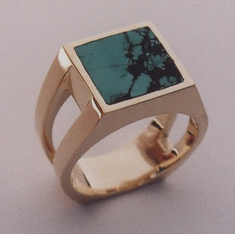 Yellow Gold Men's Ring with Turquoise Inlay Southwest Originals 505-363-7150