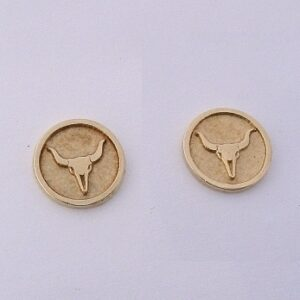 Yellow Gold Steer Skull Earrings by Southwest Originals 505-363-7150