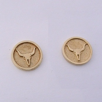 Yellow Gold Steer Skull Earrings by Southwest Originals 505-363-7150